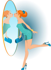 Pretty girl kissing her reflection on her way to a party