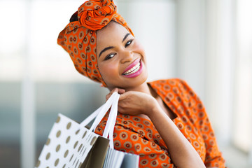 african shopper in shopping mall