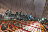 Fototapety New York City - Manhattan Skyline from Brooklyn Bridge by Night