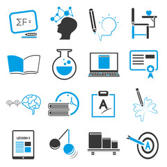 education icon set, blue theme