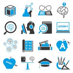 education icon set, blue theme