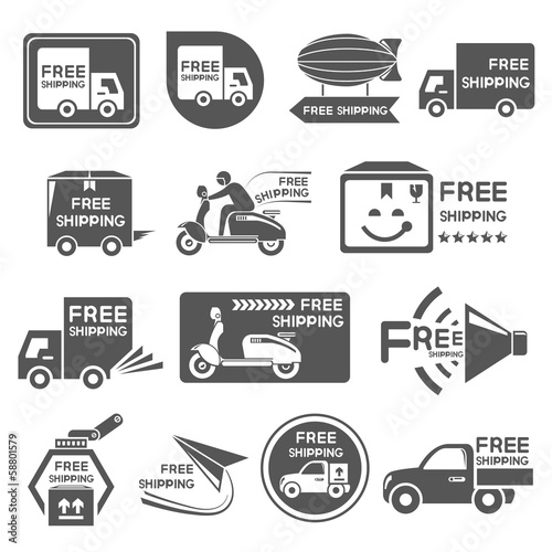 free shipping label, icons