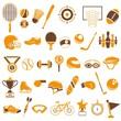 sport equipment icons set, orange theme