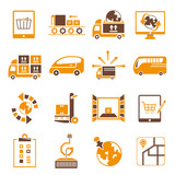 shipping icons set, orange theme