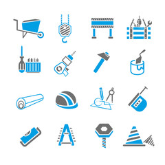 construction icon set, blue theme