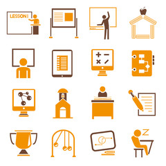 education icons set, orange theme