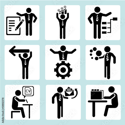 business management icons, business people set