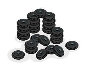 Stack of Car Wheels Isolated on White Background.