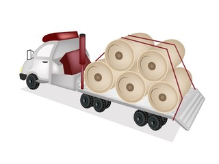 A Tractor Trailer Flatbed Loading Giant Paper Mills
