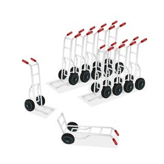 Group of Hand Truck or Dolly on White Background