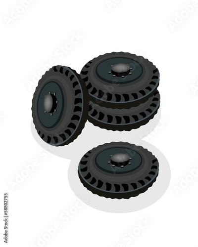 A Heap of Car Wheels Isolated on White Background.