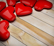 red heart on wood floor 3d rendering