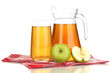 Full glass and jug of apple juice and apples isolted on white