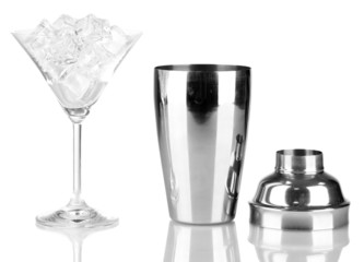Cocktail shaker and cocktail glass isolated on white