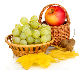 Green grape with apple isolated on white