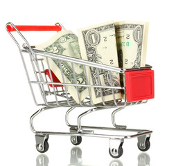 Money in cart isolated on white