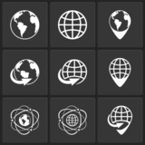 vector globe earth world icons