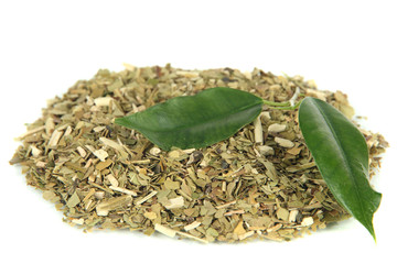 Dry mate tea, isolated on white