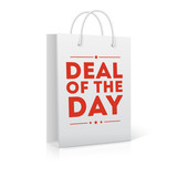 Deal of the day, shopping bag vector illustration