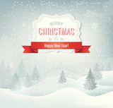 Retro holiday christmas background with winter landscape. Vector