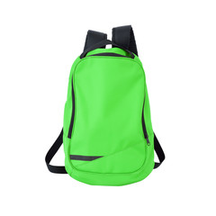 Green backpack isolated with path