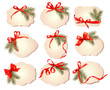 Set of christmas gift cards with red gift bows with ribbons Vect