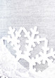 Christmas Decorations with white snowflake and silver ribbon. Ch