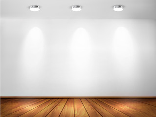Wall with spotlights and wooden floor. Showroom concept. Vector