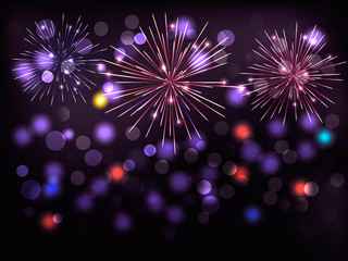 Holiday background with colorful fireworks. Happy New Year! Vect