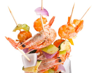 colorful vegetable and shrimp grilled kebabs