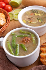 vegetable soup with meatballs, green beans and bread