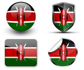 Kenya flag button sticker and badge