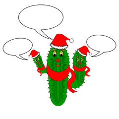 A funny Christmas cactus with speech bubbles