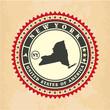 Vintage label-sticker cards of New York