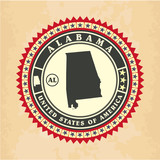 Vintage label-sticker cards of Alabama
