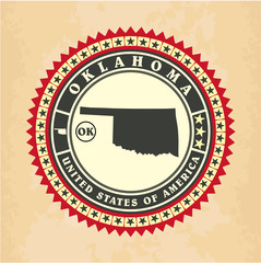 Vintage label-sticker cards of Oklahoma