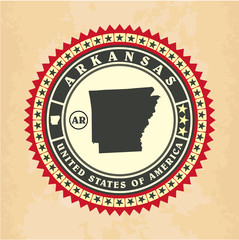 Vintage label-sticker cards of Arkansas