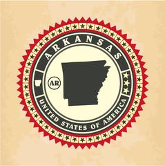 Vintage label-sticker cards of Arkansas