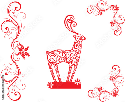 Red Christmas ornaments & deer