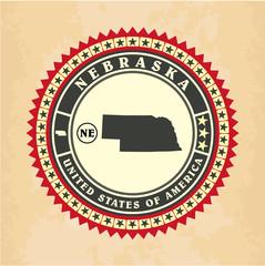 Vintage label-sticker cards of Nebraska