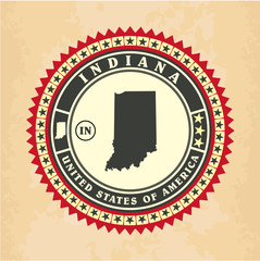 Vintage label-sticker cards of Indiana, vector illustration