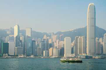 HONG KONG - OCTOBER 22: Ferry leaving Kowloon pier on October 22