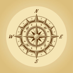 Wind rose in old retro style. .