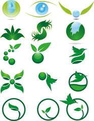 Eco icons. Ecology logo template elements