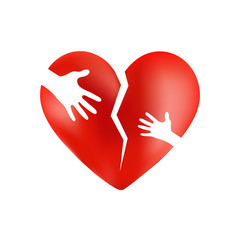 Broken heart with hands of adult and child isolated on white bac