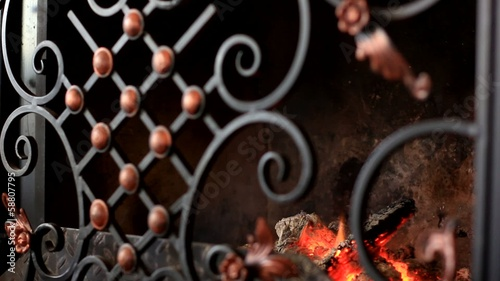 burning fireplace