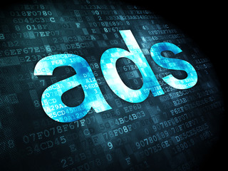 Advertising concept: Ads on digital background