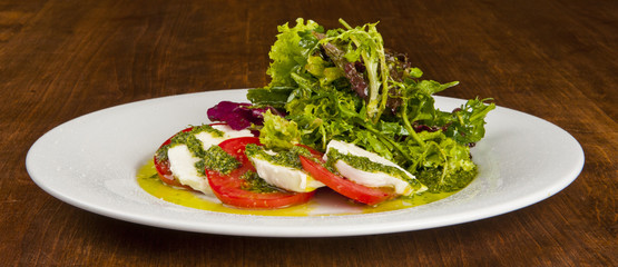 salad caprese with mozzarella and tomato
