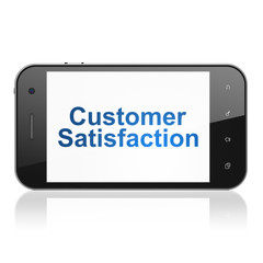 Advertising concept: Customer Satisfaction on smartphone