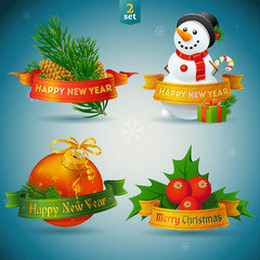 Christmas and New Year icons. Highly detailed vector illustratio